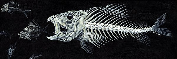 Fish Painting - Skeletail by JoAnn Wheeler
