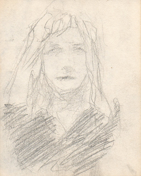 Sketch Drawing - Sketch Of A Girl by T Ezell