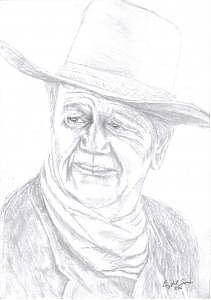Drawing Drawing - Sketch Of John Wayne by Crystal Sons