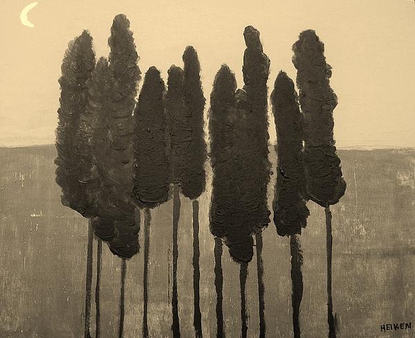 Painting Painting - Skinny Trees In Sepia by Marsha Heiken