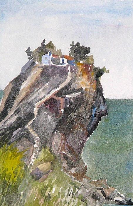 Skopelos Island Greece Paintings.skopelos Paintings.greece Skopelos Paintings.greek Islands Paintings. Painting - Skopelos Church On The Rock by George Siaba