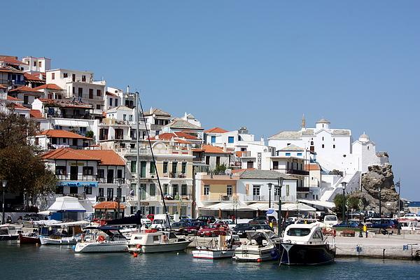 Greece Photograph - Skopelos Harbour Greece by Yvonne Ayoub