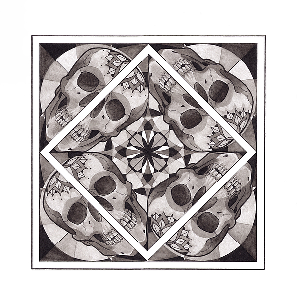 Mandala Mixed Media - Skull Mandala Series Number Two by Deadcharming Art