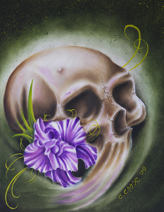 Skull-n-flower Painting by Chad Chase