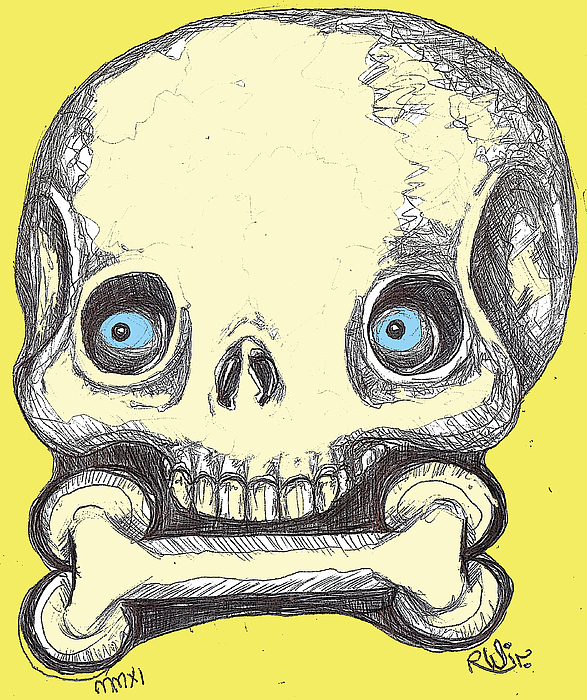Contemporary Drawing - Skullnbone by Robert Wolverton Jr