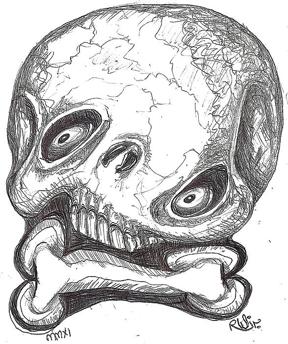 Contemporary Digital Art - Skullnbone Twisted by Robert Wolverton Jr