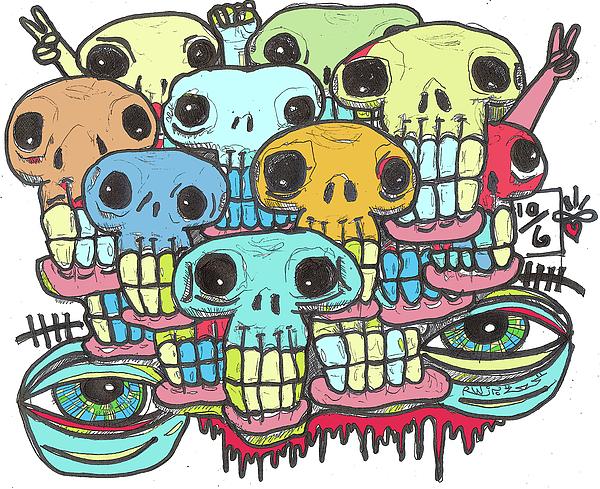 Contemporary Digital Art - Skullz by Robert Wolverton Jr