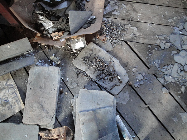 Roofing Slate Photograph - Slate On Floor Boards by Terry  Wiley