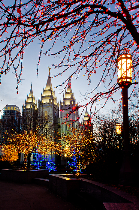 Temple Photograph - Slc Temple Lights Lamp by La Rae  Roberts