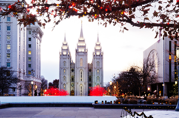 Christmas Lights Photograph - Slc Temple Red And White by La Rae  Roberts