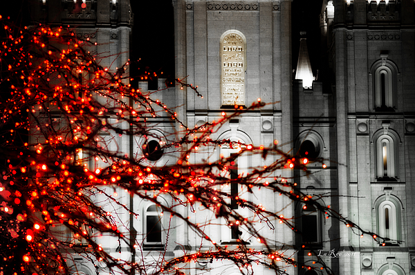 Slc Temple Red White N Black Photograph by La Rae  Roberts