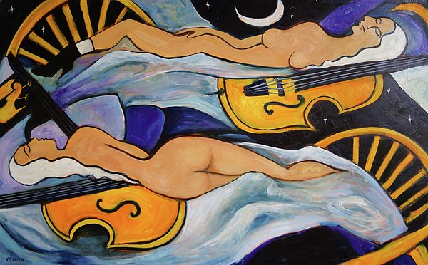 Musicians Painting - Sleeping Cellists by Valerie Vescovi