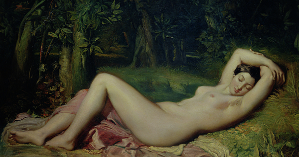 Nude Painting - Sleeping Nymph by Theodore Chasseriau