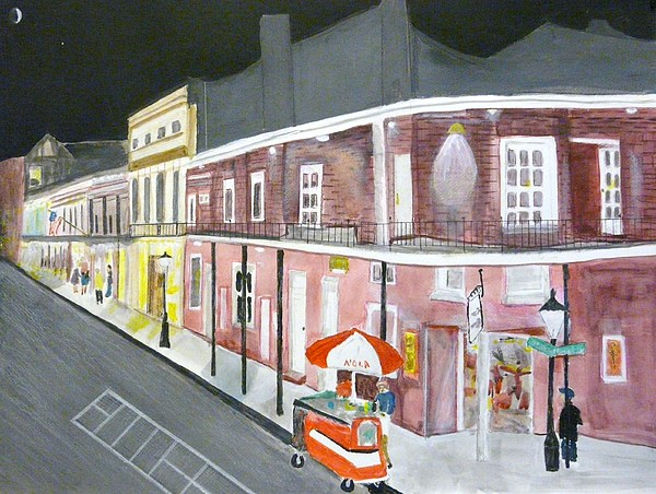 Slow Night On Bourbon St. Painting by Cathy Jourdan