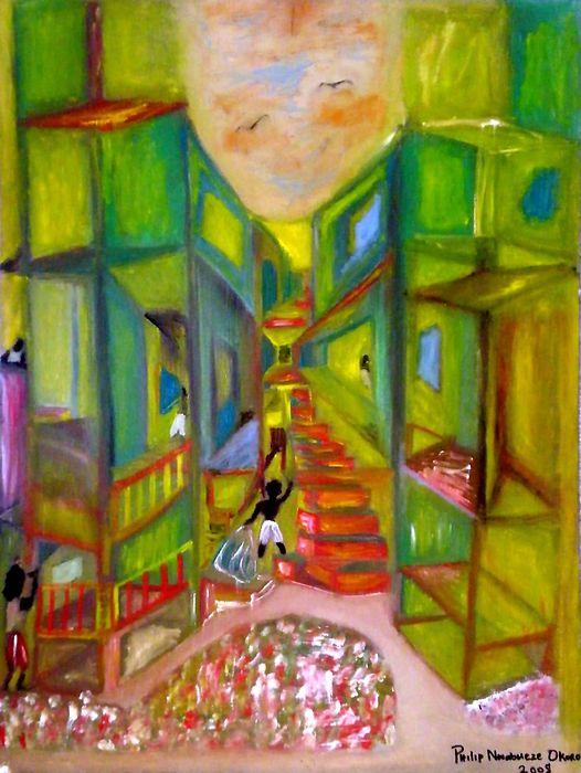 Housing Complex Painting - Slum by Philip Okoro