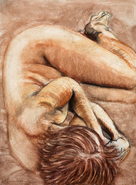 Nude Drawing - Slumber Pose by Kerryn Madsen-Pietsch