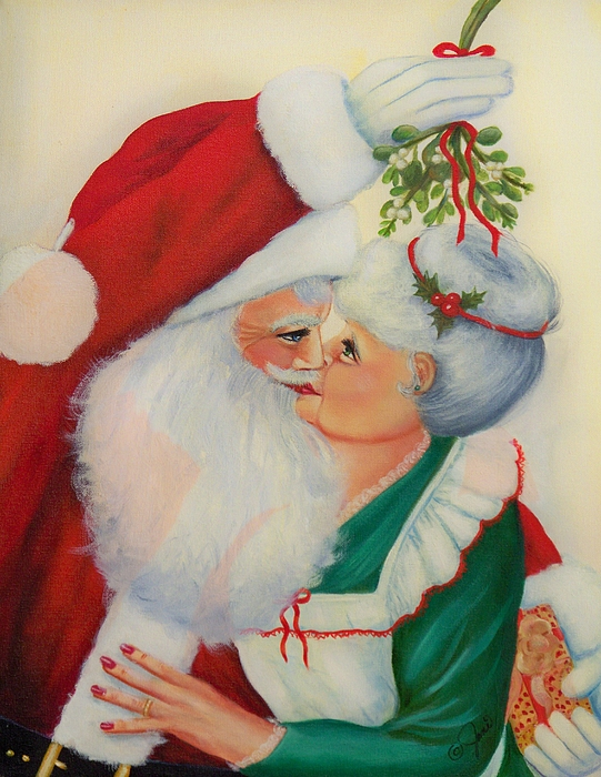 Christmas Painting - Sly Santa by Joni McPherson