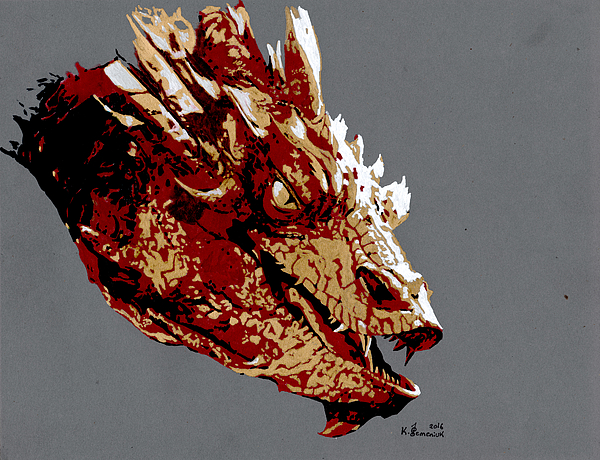 Smaug Drawing - Smaug The Unassessably Wealthy by Kayleigh Semeniuk