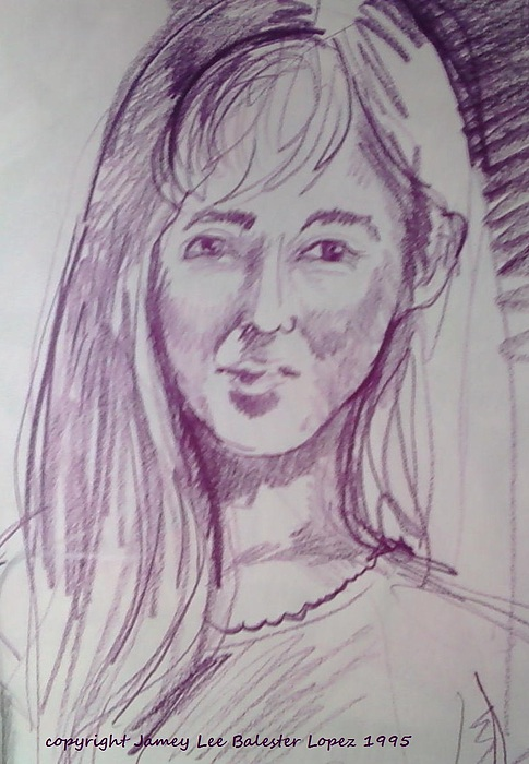 Portrait Drawing - Smiling Eyes by Jamey Balester
