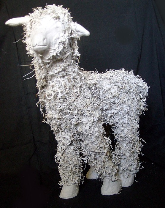 Plaster Mixed Media - Smiling Lamb by Cameron Hampton P S A