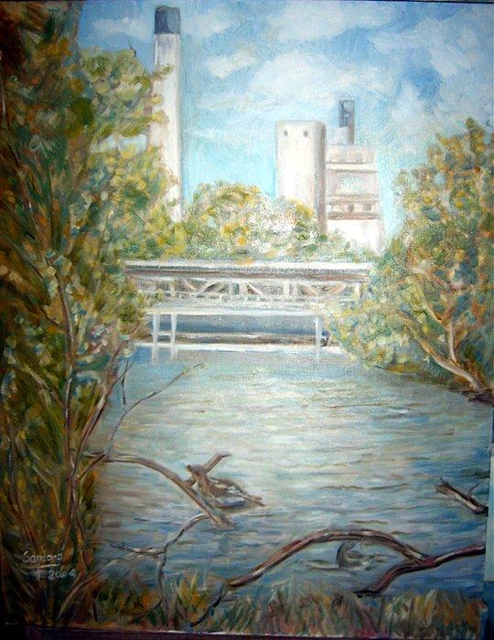 Smokestack Painting by Joseph Sandora Jr