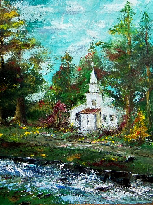 Smokey Mountains Church Painting by Lynda McDonald