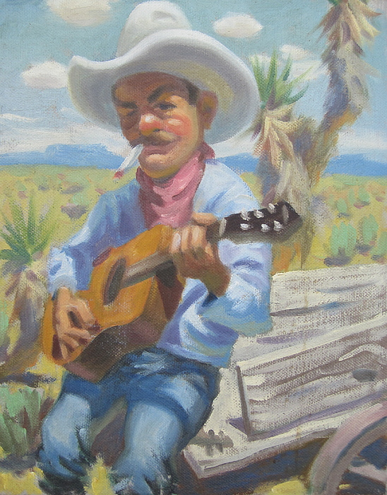 Cowboy Smokin And Playing A Guitar Sitting On The Back Of A Wagon Painting - Smokin Guitar Man by Texas Tim Webb