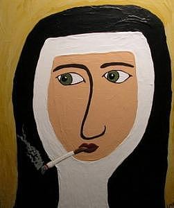 Smokin Nun Painting by Michele Edsall
