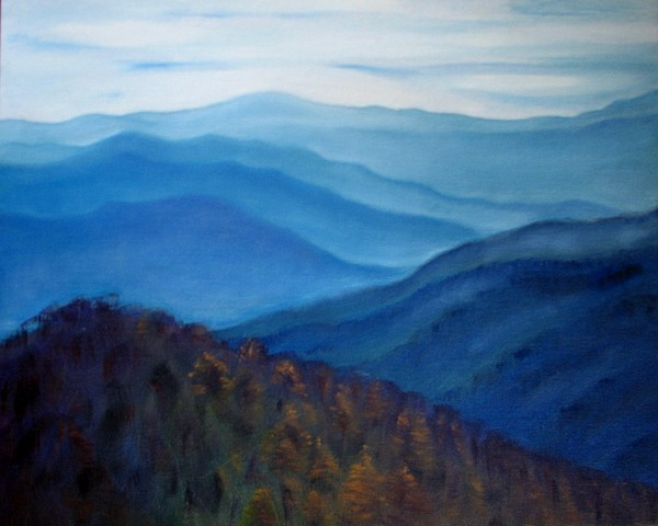 Mountains Painting - Smoky Mountains Tennessee Lanscape Original Oil Painting by Natalja Picugina