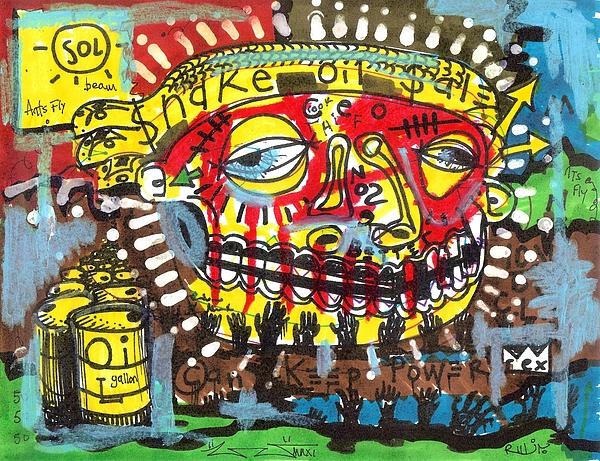 Contemporary Drawing - Snake Oil Salesman by Robert Wolverton Jr