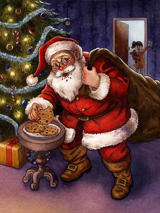 Santa Painting - Sneaky Santa by Isabella Kung