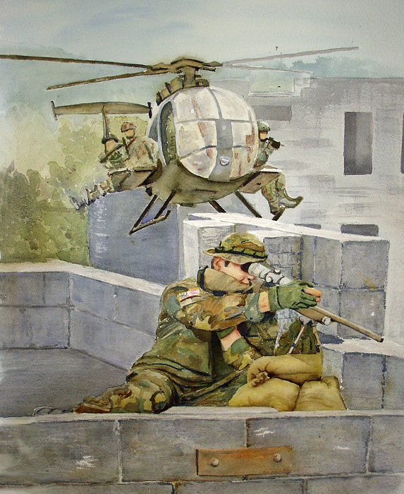Soldier Painting - Sniper Military Tribute by Kerra Lindsey