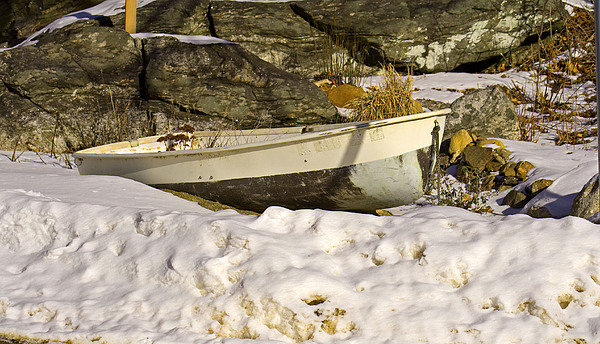 Boats Photograph - Snow Bound by Gerald Mitchell