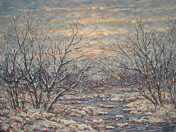 Landscape Painting - Snow By Brook. by Leonard Holland