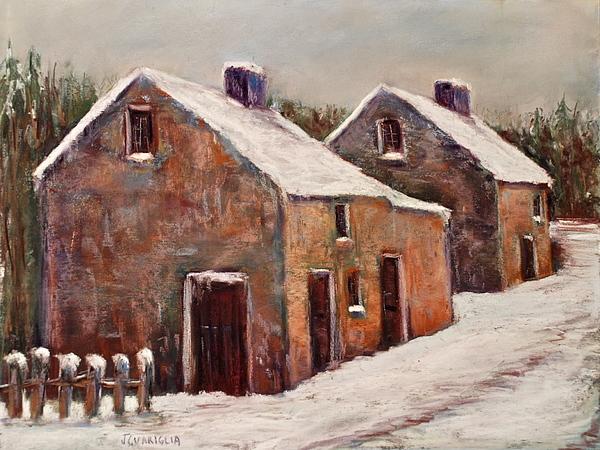 Street Scene Pastel - Snow Fall In Ireland by Joyce A Guariglia