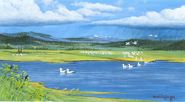Landscape Painting - Snow Geese  Tidal Flats by Bob Patterson