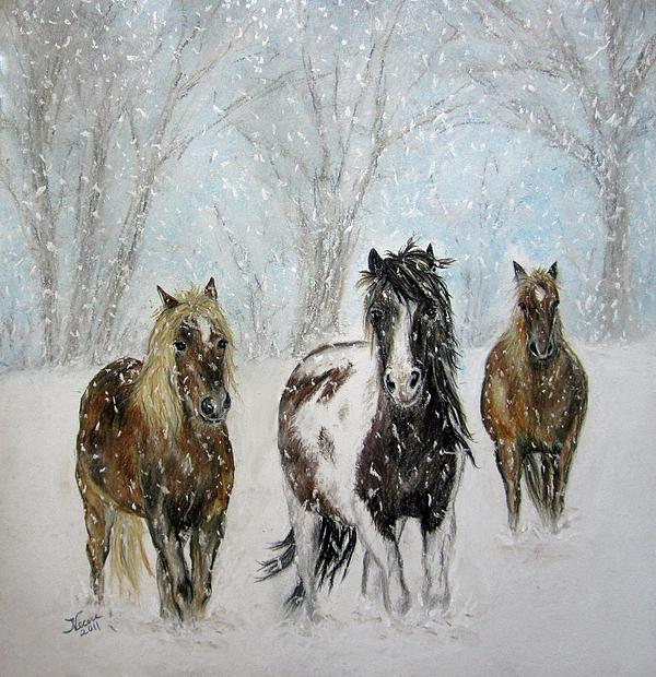 Horse Pastel - Snow Horses by Teresa Vecere