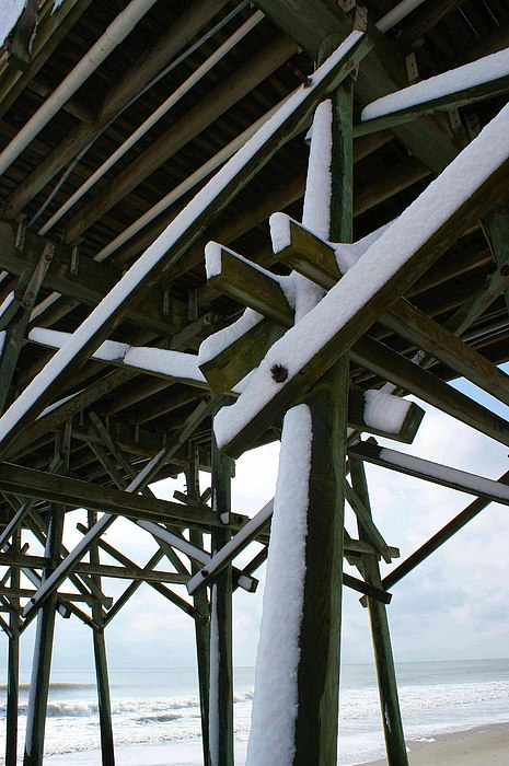 Snow Photograph - Snow On The Pier by Sherry Vance