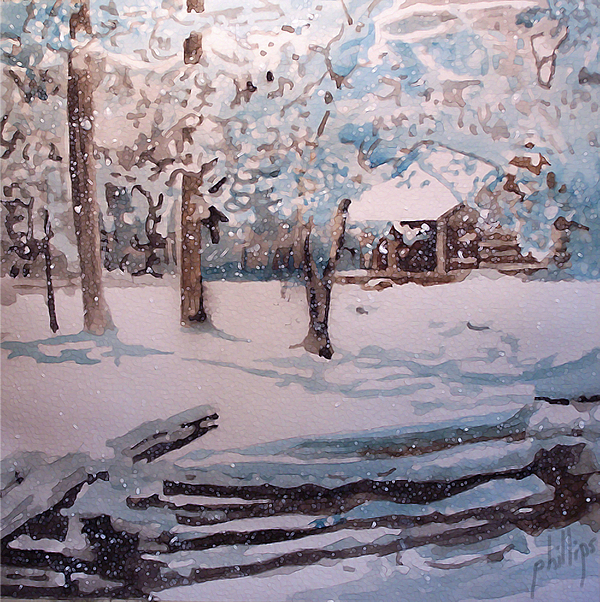 Cabin Painting - Snowbound by Jim Phillips