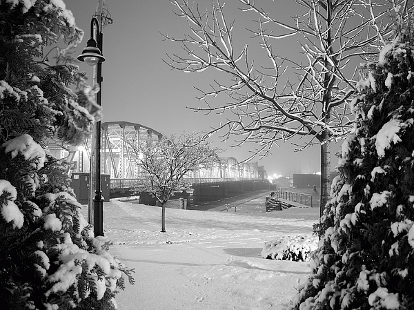 Winter Photograph - Snowy Bridge With Trees by Jeremy Evensen