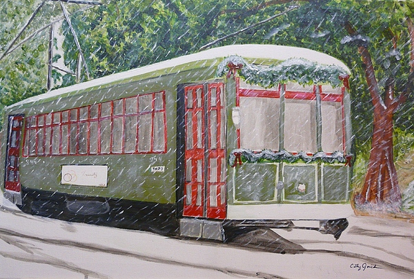Landscape Painting - Snowy Day In New Orleans by Cathy Jourdan
