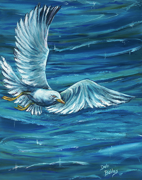 Seagull Painting - Soaring by Debra Bailey