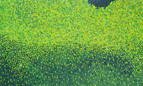 Abstract Painting - Soft Green Wet Trees by Dean Triolo