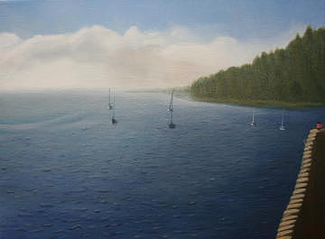 Seascape Painting - Soft Morning Waters by Stephen Degan