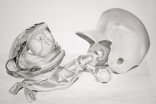 Helmet Drawing - Softball by Leslie Ann Hammer