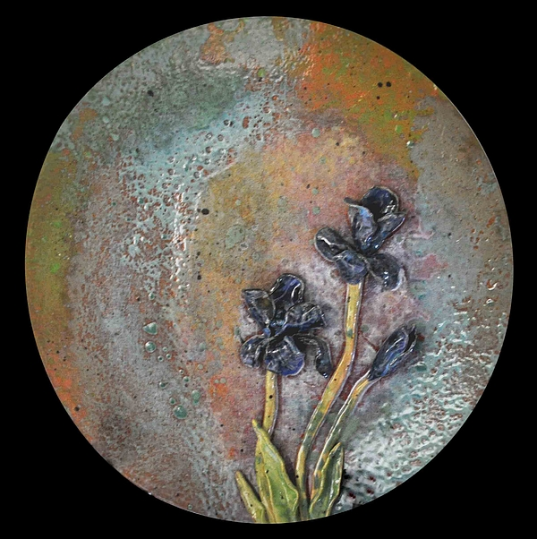 Iris Sculpture - Sold Iris Plate X Large by Amanda  Sanford
