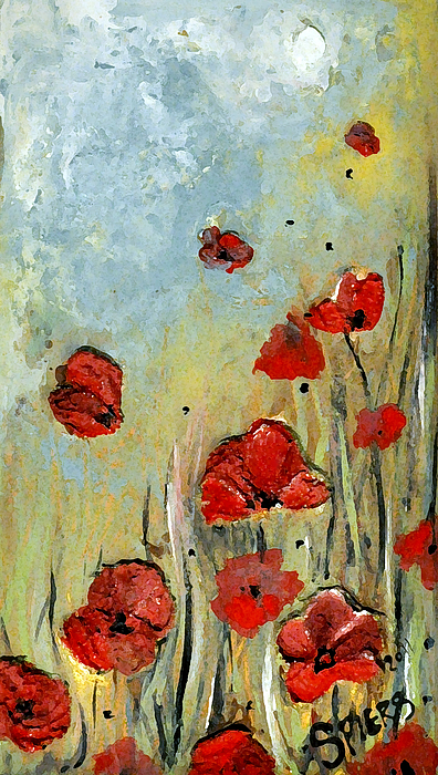 Impasto Painting - Sold Mom And Poppies by Amanda  Sanford