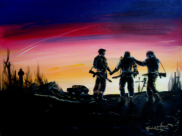 Soldiers Pray II Painting by Randall Easterling