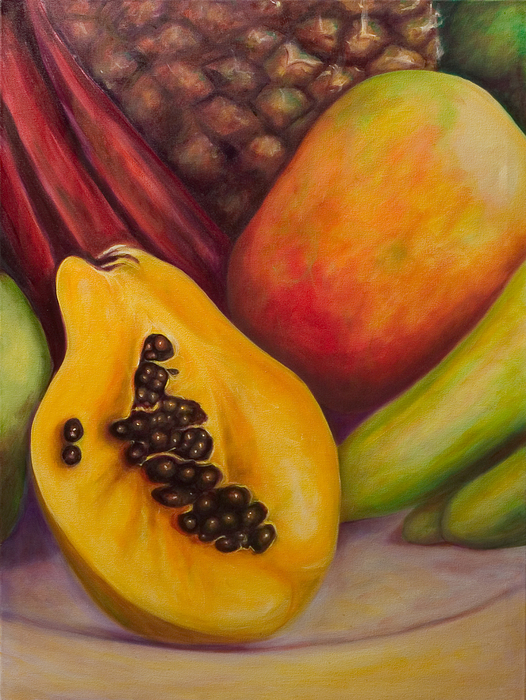 Tropical Fruit Still Life: Mangoes Painting - Solo by Shannon Grissom
