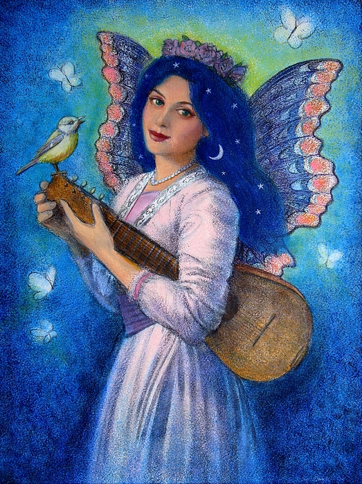 Music Painting - Songbird For A Blue Muse by Sue Halstenberg